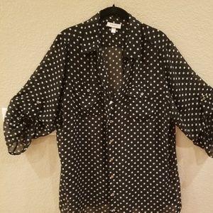 Black & White Polka Dot 3/4 sleeve blouse